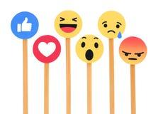 象按钮6移情作用的Emoji反应的Facebook 图库摄影