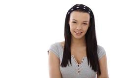 画象有吸引力十几岁的女孩微笑 免版税图库摄影
