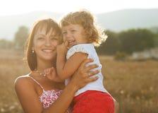 画象母亲和女儿 库存照片