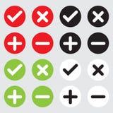 象汇集加上十字架减和正确的象按钮 免版税库存图片