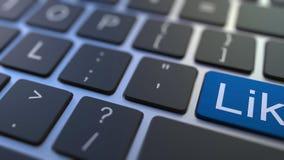 象烦恶在键盘的按钮的关键移交 概念性3D动画 股票视频