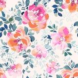 象玫瑰印刷品-无缝的背景的精美桃红色水彩 库存图片