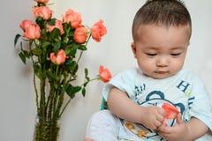 象玫瑰花瓣婴孩(亚洲,中国,汉语) 库存照片