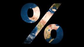 象百分号显露的转动的地球地球 影视素材