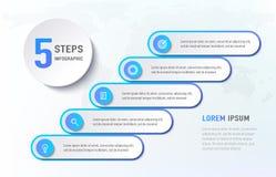 象的五步infographics台阶 与象模板的图流程图 也corel凹道例证向量 库存例证