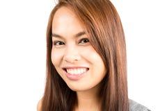 画象真正真正的亚裔女孩微笑的特写 免版税库存图片
