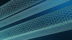 象科学背景的纳米技术 ??nanotubes Graphene原子nanostructure,碳nanotubes,耐久 皇族释放例证