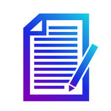 象笔记的笔记contentIcon 版权标志 美满的标志 与笔的记事本 免版税库存图片