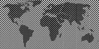 象素世界地图 免版税库存照片
