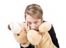 画象美丽青少年与玩具熊 免版税库存图片