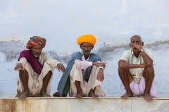 画象老人在印度 库存图片