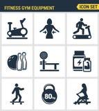 象设置了健身健身房设备的优质质量,炫耀休闲活动 现代图表收藏平的设计 向量例证