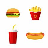 象设置了快餐 汉堡包,热狗,炸薯条,苏打 库存照片