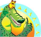 象 快乐的愉快的青蛙和鳄鱼展示赞许 他们appro 免版税库存图片