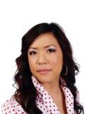 画象年轻有吸引力的亚洲妇女圆点衬衣 免版税库存图片