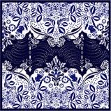 豪华佩兹利披肩设计正方形传染媒介 免版税图库摄影