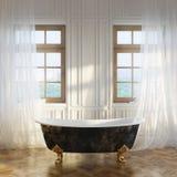 豪华减速火箭的浴缸在现代屋子内部第1个版本里 库存照片