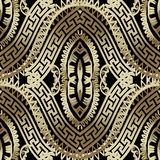 豪华华丽金子3d希腊传染媒介无缝的样式 装饰 皇族释放例证