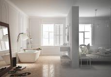 豪华卧室未完成的项目草稿有卫生间的斯堪的纳维亚样式的,最小 库存照片