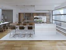 豪华厨房和餐厅内部看法  免版税库存照片