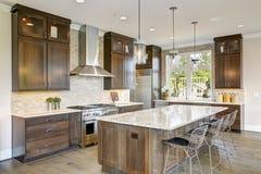 豪华厨房在一个新建工程家 库存照片