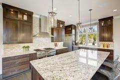 豪华厨房在一个新建工程家 免版税库存照片