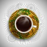豪华咖啡杯 免版税库存照片
