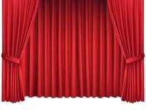 豪华在白色背景隔绝的猩红色红色丝绸帷幕 库存图片