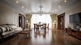 豪华在经典样式的客厅室内设计 免版税库存图片