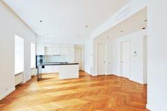 豪华声望公寓的内部与豪华厨房的 图库摄影