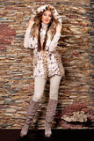 豪华天猫座皮大衣的妇女 免版税库存图片