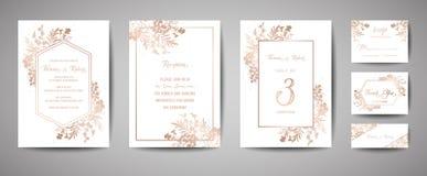 豪华婚礼救球日期,邀请海军卡片汇集与金箔花和叶子和花圈时髦盖子 向量例证