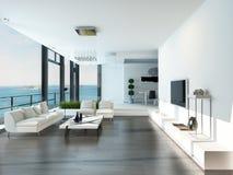 豪华客厅内部有白色长沙发和海景视图 库存例证