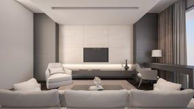 豪华客厅/3D翻译 免版税库存图片