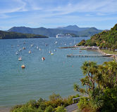 豪华客轮离开皮克顿,新西兰 库存照片