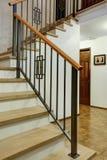 豪华家庭内部有入口走廊的看法 免版税库存图片