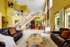 豪华家庭娱乐室以富有的家具和楼梯向高处发射 库存照片