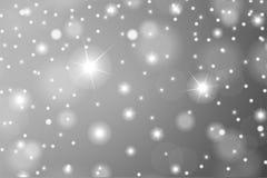 豪华或圣诞节贺卡的抽象微粒作用 闪耀的纹理 雪和星在白色背景 免版税库存图片