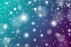 豪华或圣诞节贺卡的抽象微粒作用 闪耀的纹理 雪和星在蓝色和绿松石backgroun 免版税图库摄影