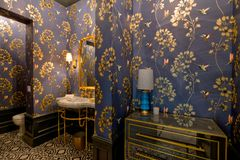 豪华手段蜂鸟主题的豪宅卫生间 免版税库存图片