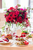 豪华接收设置表婚礼 免版税库存照片