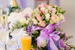 豪华接收设置表婚礼 免版税库存图片