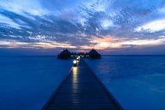 豪华旅游胜地Angaga Ari环礁 图库摄影