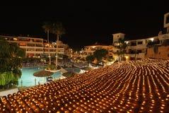 豪华旅馆在晚上 库存图片