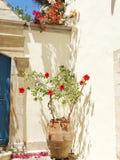 豪华旅馆大厦阳台和大阳台santorini希腊 库存图片