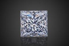豪华无色的透明闪耀宝石方形的形状公主切开了在黑背景隔绝的金刚石 免版税库存照片