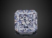 豪华无色的透明闪耀的宝石形状asscher切开了在黑背景隔绝的金刚石 免版税图库摄影