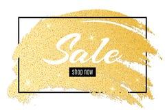 豪华时兴的横幅待售 在框架的文本 手拉难看的东西的线 金黄斑点 金子闪烁 发光的污迹 豪华backgro 库存照片