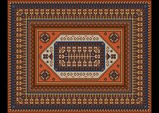 豪华明亮的与橙色,蓝色和棕色树荫的葡萄酒东方地毯 免版税库存图片
