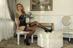豪华束腰时尚成套装备的性感的妇女 免版税图库摄影